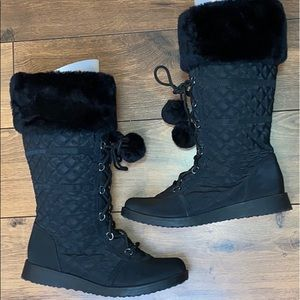 Jelly pop Quilted Fur Winter Boots sz 8.5